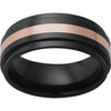 Black Diamond Ceramic™ Flat Band with Grooved Edges and a 2mm 14K Rose Gold Inlay