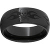 Black Diamond Ceramic™ Domed Band with Skull Laser Engraving