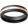 Black Diamond Ceramic™ Domed Band with a 2mm 14K Rose Gold Inlay