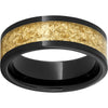 Black Diamond Ceramic™ Pipe Cut Band with 5mm Yellow Gold Leaf Inlay