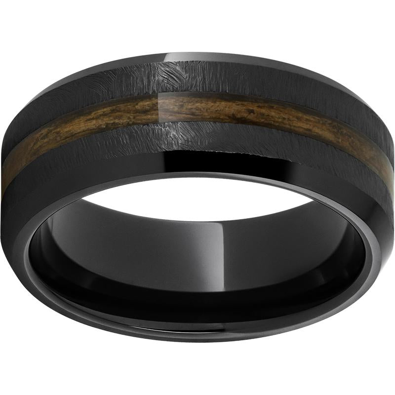Black Diamond Ceramic™ Beveled Edge Band with Bourbon Barrel Aged™ Inlay and Grain Finish
