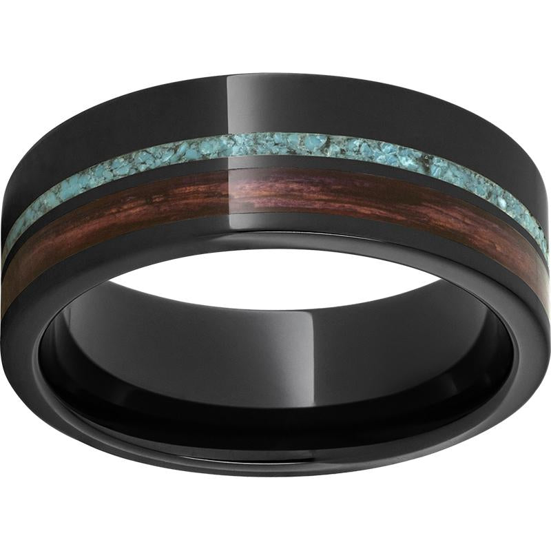 Black Diamond Ceramic™ Pipe Cut Band with Off-Center Cabernet Barrel Aged™ Inlay and Turquoise Inlay
