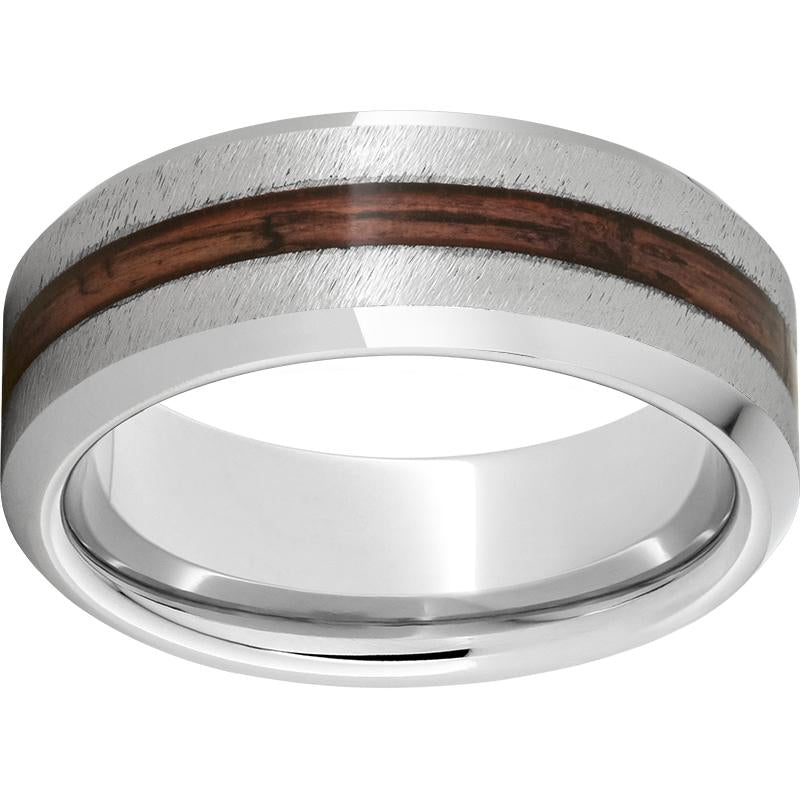 Black Diamond Ceramic™ Beveled Edge Band with Cabernet Barrel Aged™ Inlay and Grain Finish