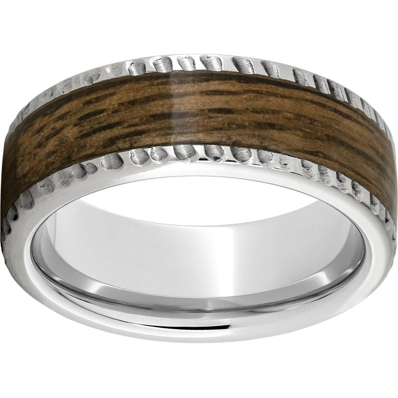 Sernium® Pipe Cut Band with Bourbon Barrel Aged™ Inlay and Notched Finish