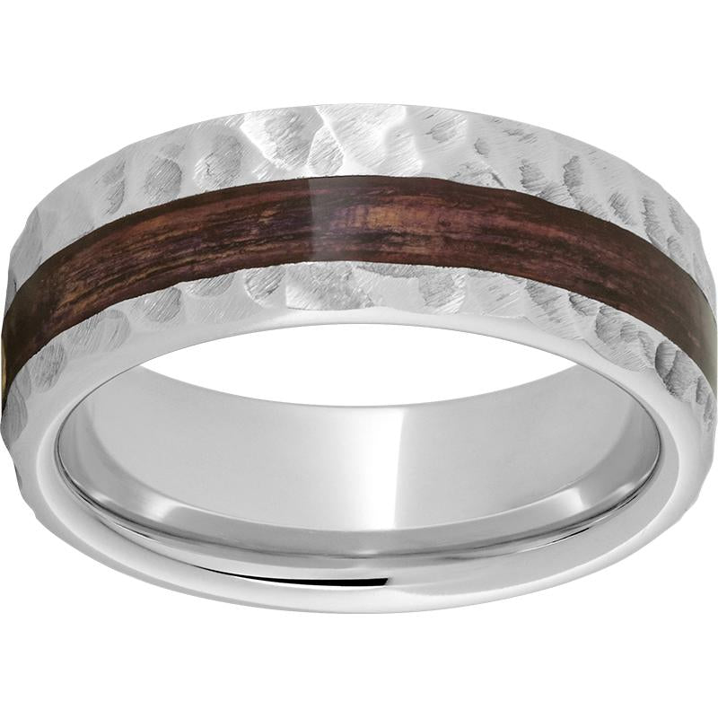 Serinium® Pipe Cut Band with Off-Center Bourbon Barrel Aged™ Inlay and Moon Finish