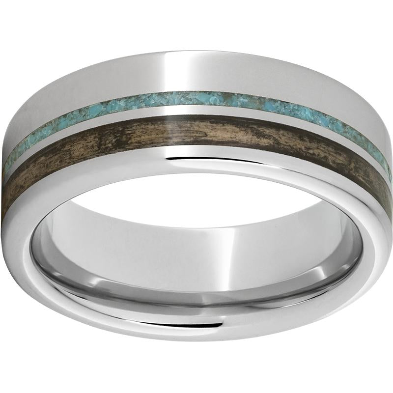 Serinium® Pipe Cut Band with Off-Center Bourbon Barrel Aged™ Inlay & Turquoise Inlay