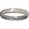 Titanium Flat Grooved Edge Band with a 1mm 14K Yellow Gold Inlay and Satin Finish