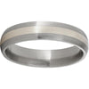 Titanium Domed Band with a 2mm Sterling Silver Inlay and Satin Finish
