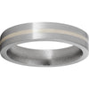 Titanium Flat Band with a 1mm Sterling Silver Inlay and Satin Finish
