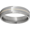 Titanium Beveled Edge Band with a 1mm Sterling Silver Inlay and Satin Finish