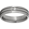 Titanium Beveled Edge Band with Two .5mm Grooves, One 6-point Diamond, and Stone Finish