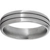 Titanium Beveled Edge Band with Two .5mm Grooves and Polish Finish