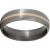 Titanium Domed Band with a 1mm 14K Yellow Gold Inlay and Satin Finish