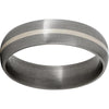 Titanium Domed Band with a 1mm Sterling Silver Inlay and Satin Finish