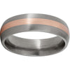 Titanium Domed Band with a 2mm 14K Rose Gold Inlay and Satin Finish