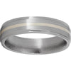 Titanium Flat Band with Grooved Edges, 1mm Sterling Silver Inlay and Satin Finish