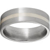 Titanium Flat Band with a 2mm Sterling Silver Inlay and Satin Finish