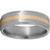 Titanium Flat Band with Grooved Edges, 2mm 14K Yellow Gold Inlay and Satin Finish