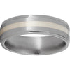 Titanium Flat Band with Grooved Edges, 2mm Sterling Silver Inlay and Satin Finish
