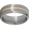 Titanium Beveled Edge Band with a 1mm 14K Yellow Gold Inlay and Satin Finish