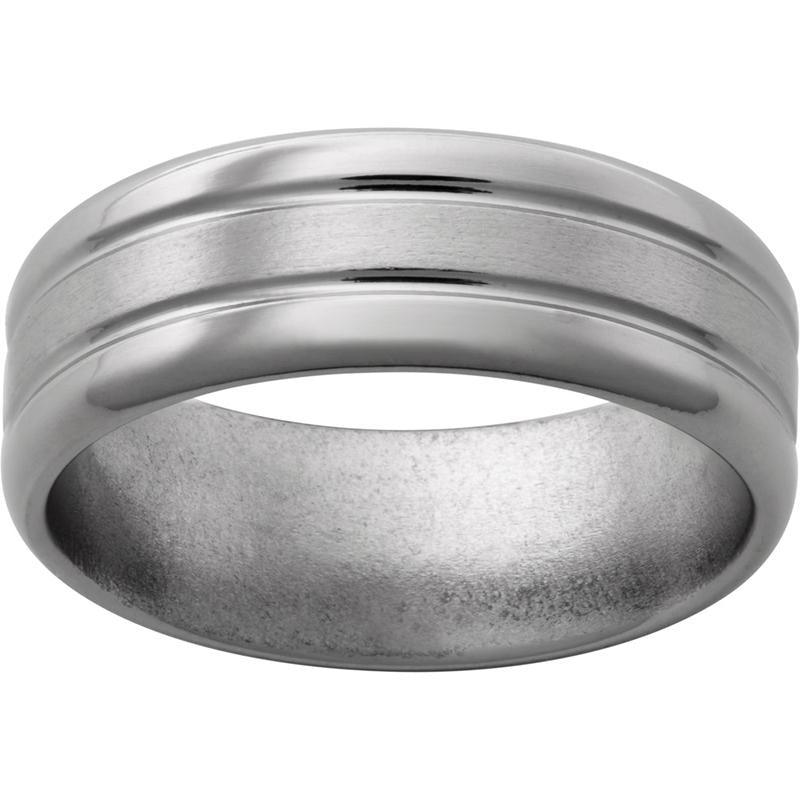 Titanium Band with Two .5mm Grooves, Satin Center and Polished Edges