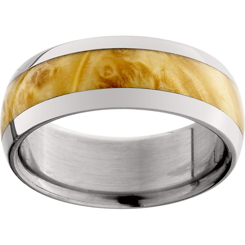 Titanium Domed Band with Exotic Box Elder Burl Inlay
