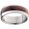 Titanium Domed Band with Exotic Desert Iron Wood Inlay