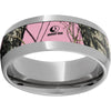 Titanium Domed Band with Mossy Oak® Pink Break-Up Inlay