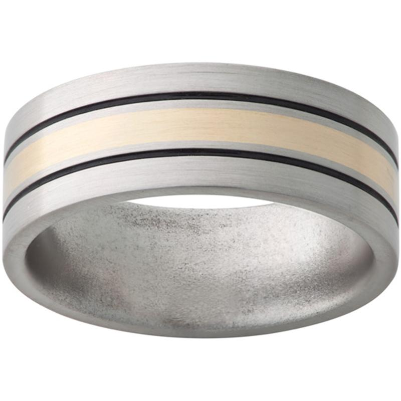 Titanium Band with a 2mm 14K Yellow Gold Inlay, Two .5mm Grooves with Antiquing, and Satin Finish