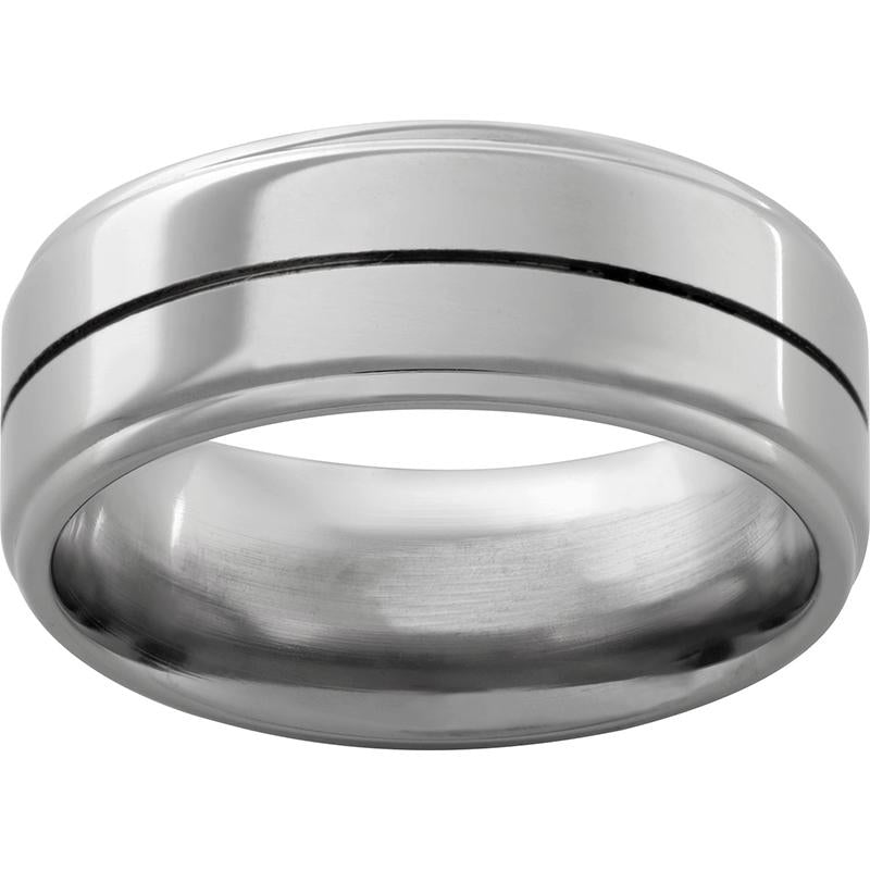 Titanium Flat Band with One .5 mm Groove and Polish Finish