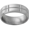 Titanium Beveled Edge Band with Vertical and Horizontal Grooves and Satin Finish