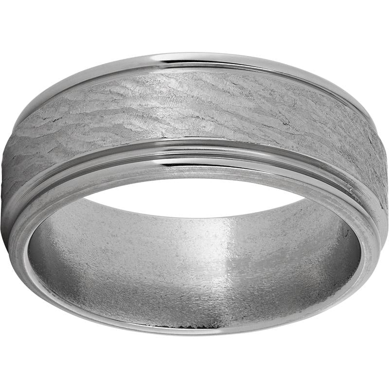 Titanium Rounded Edge Band with Bark Hand Finish