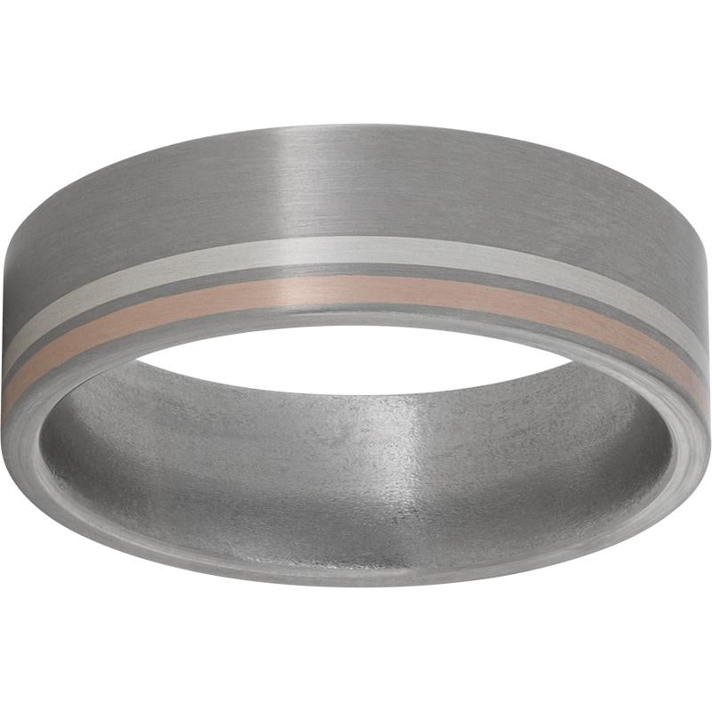 Titanium Flat Band with Off-Center Rose Gold and Sterling Silver Inlays and Satin Finish