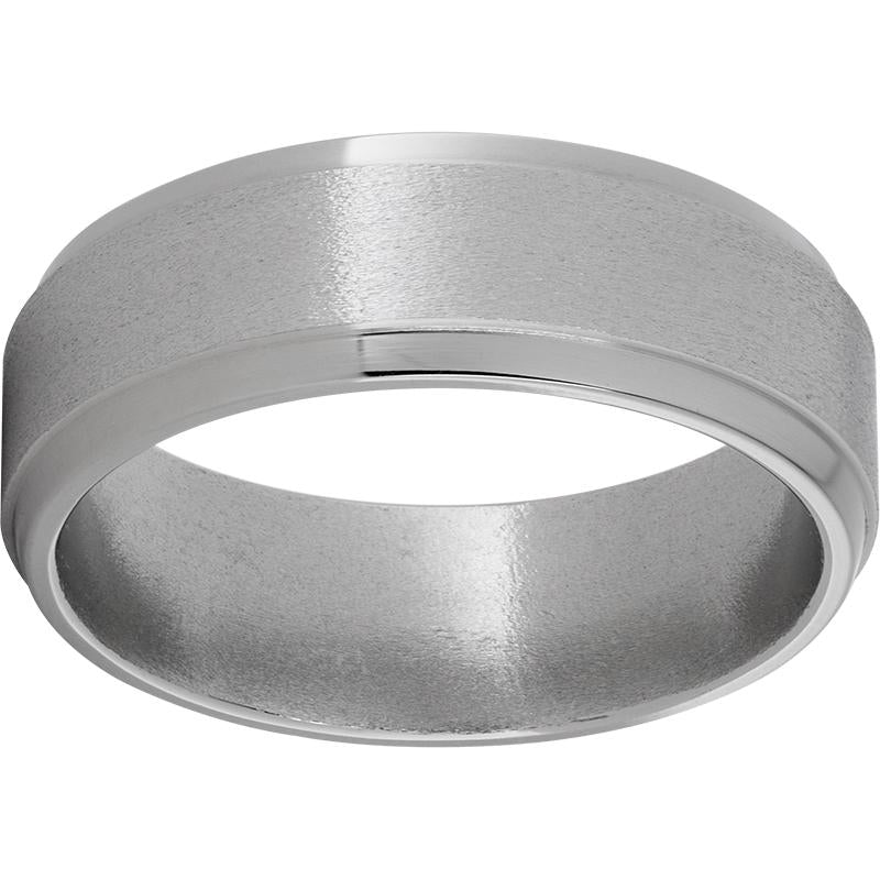 Titanium Flat Band with Grooved Edges and a Stone Finish