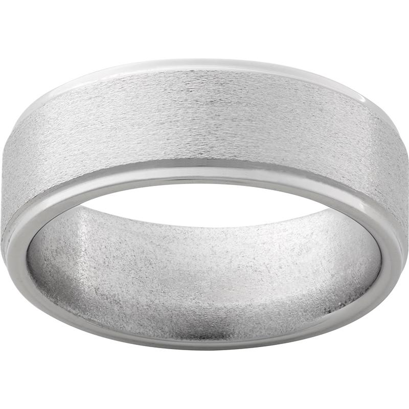 Titanium Flat Band with Grooved Edges and Stone Finish