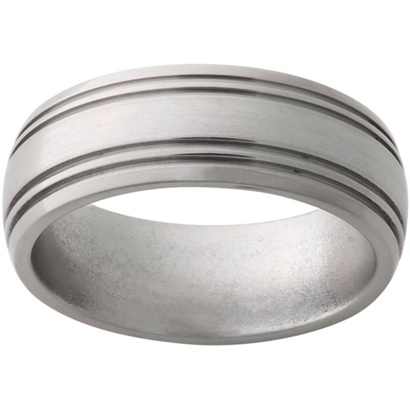 Titanium Domed Band with Two .5mm Grooves on Each Edge and Satin Finish