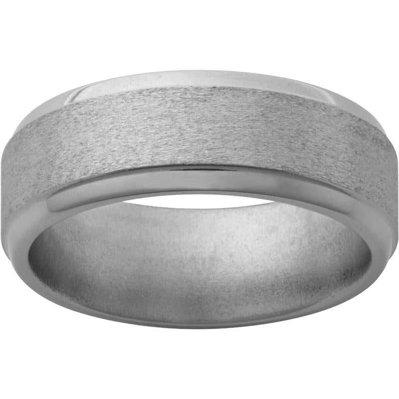 Titanium Flat Band with Step Beveled Edges and Stone Finish