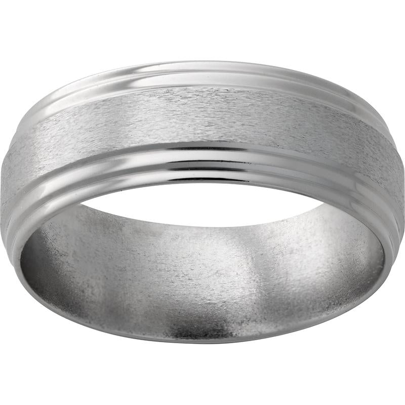Titanium Flat Band with Double Grooved Edges and Stone Finish