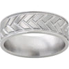Titanium Rounded Edge Band with Milled Woven Pattern and Satin Finish