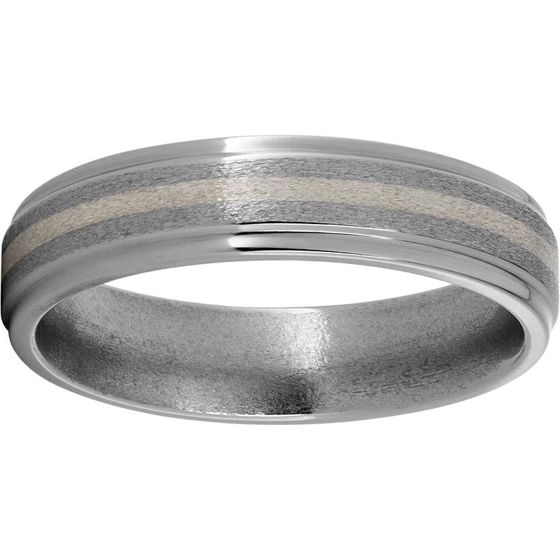 Titanium Band with 14K White Gold Inlay and a Stone Finish