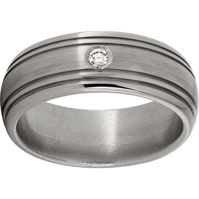 Titanium Domed Band with Two .5mm Grooves on Each Side, One 6-Point Diamond, and Satin Finish
