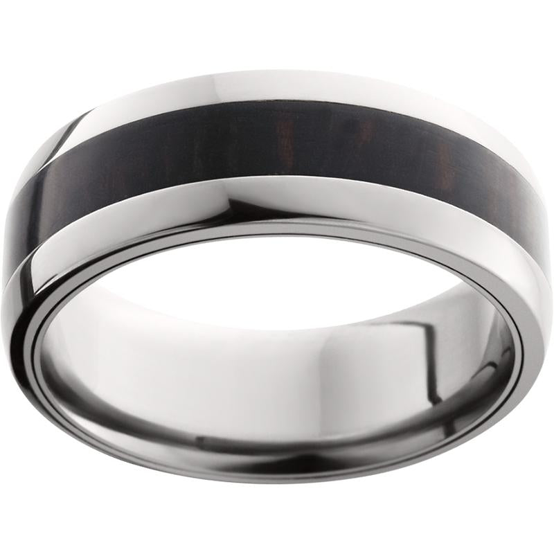 Titanium Domed Band with Exotic Wenge Wood Inlay