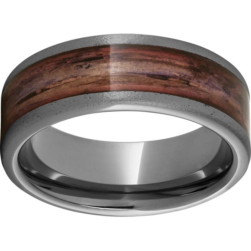 Rugged Tungsten™ 8mm Pipe Cut Band with Cabernet Barrel Aged™ Inlay and Stone Finish