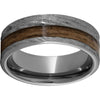 Rugged Tungsten™ 8mm Pipe Cut Band with Bourbon Barrel Aged™ Inlay and Bark Finish