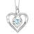 Synthetic Aquamarine Heart Infinity Symbol ROL Rhythm Of Love Pendant In Sterling Silver
