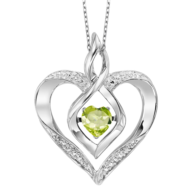 Synthetic Peridot Heart Infinity Symbol ROL Rhythm Of Love Pendant In Sterling Silver