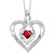 Synthetic Garnet Heart Infinity Symbol ROL Rhythm Of Love Pendant In Sterling Silver
