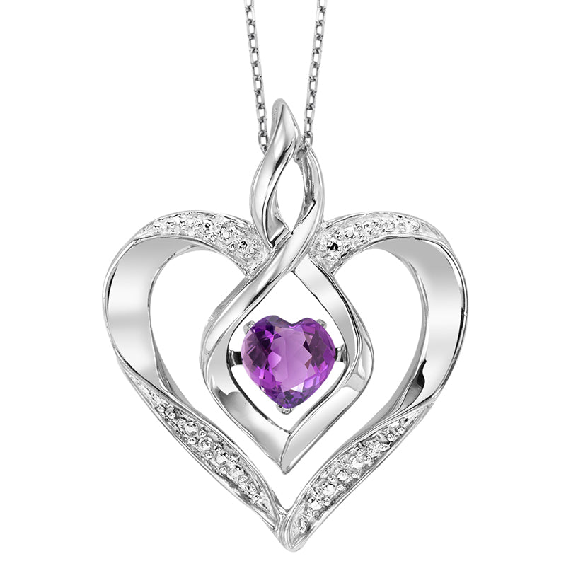 Synthetic Amethyst Heart Infinity Symbol ROL Rhythm Of Love Pendant In Sterling Silver