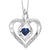 Synthetic Sapphire Heart Infinity Symbol ROL Rhythm Of Love Pendant In Sterling Silver