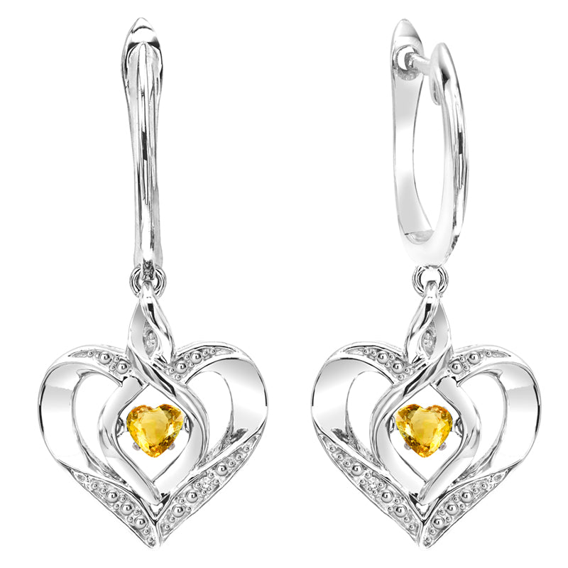 Sterling Silver ROL Prong Citrine Earrings